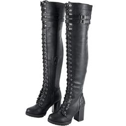 Womens Leather Combat Boots Lace Up Knee High Motorcycle Mil