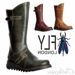 Womens Fly London Mes 2 Calf High Winter Boot Low Wedge Heel
