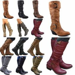 Womens Mid Calf Casual Riding Western Boots Low Flat Heel Bu