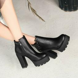 Womens Motorcycle Ankle Boots Winter Rivets Block High Heels