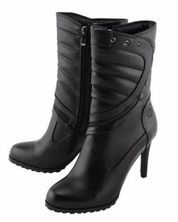 WOMENS MOTORCYCLE BIKER WATERPROOF PADDED SHAPE HIGH HEEL SH