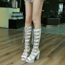 Womens Motorcycle Rome Sandals Rivet Gladiator Knee-High Boo