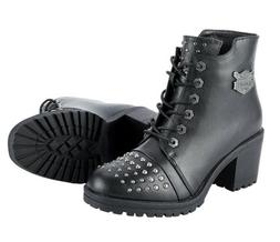 WOMENS MOTORCYCLE STUDDED WATERPROOF BOOTS SHOES w/ MILWAUKE
