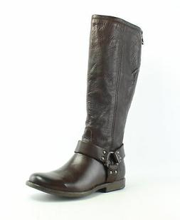 Frye Womens Phillip Harness Tall Brown Motorcycle Boots Size
