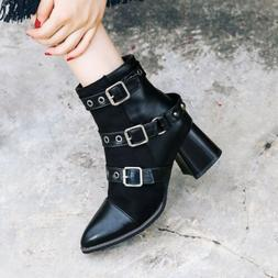 Womens Punk Block Heels Buckle Zip Ankle Boots Shoes Fashion