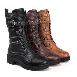 Womens Punk Cuban Heel Lace Up Motorcycle Military Combat Mi