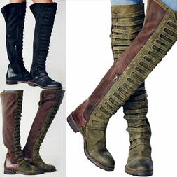 Womens Riding Knee High Motorcycle Round Toe Martin Boots Lo
