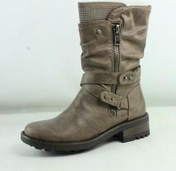 Carlos Womens Sawyer Taupe Motorcycle Boots Size 6.5
