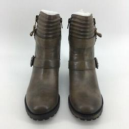 Naturalizer Womens Tandie Motorcycle Boots Brown Ankle Zip B