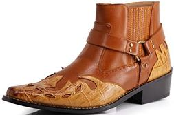 Enzo Romeo WT11 Men's Western Cowboy Motorcycle Ankle Boots